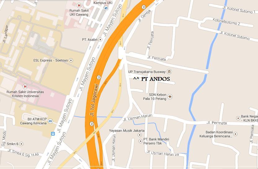 Lokasi PT Andos Jl. Usman Harun No. 36 Jakarta Timur